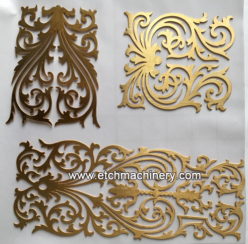 etching cut brass sample